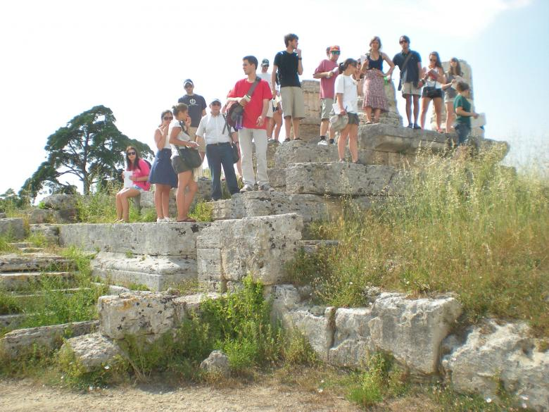 Students standing on rocks